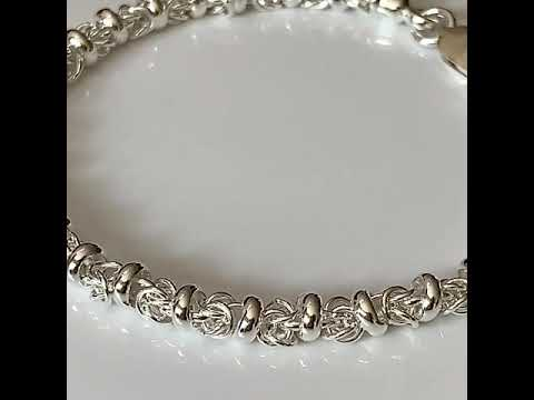 Handmade Silver Fancy Link Bracelet - Medium