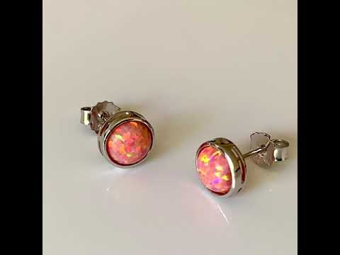 Coral Pink Opal Earrings 8mm