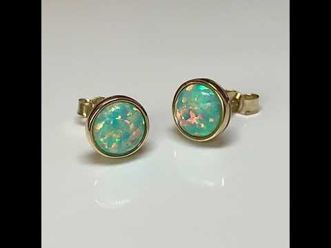 9ct Gold Created Opal Earrings 7mm