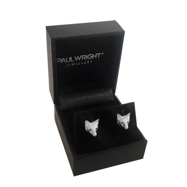 Silver Fox Mask Earrings with Ruby Eyes