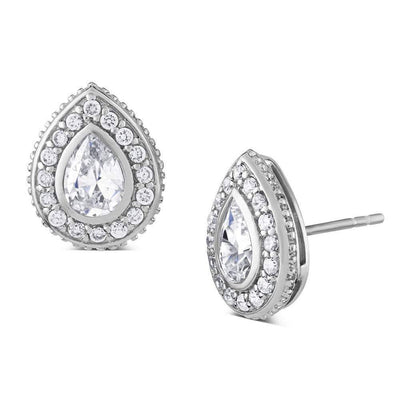 Katie Price Style CZ Diamond Earrings, Pear Shaped - Paul Wright Jewellery