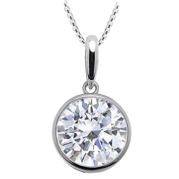 Large Rub-over CZ Diamond Pendant in 925 Silver. Ref AEP023 - Paul Wright Jewellery
