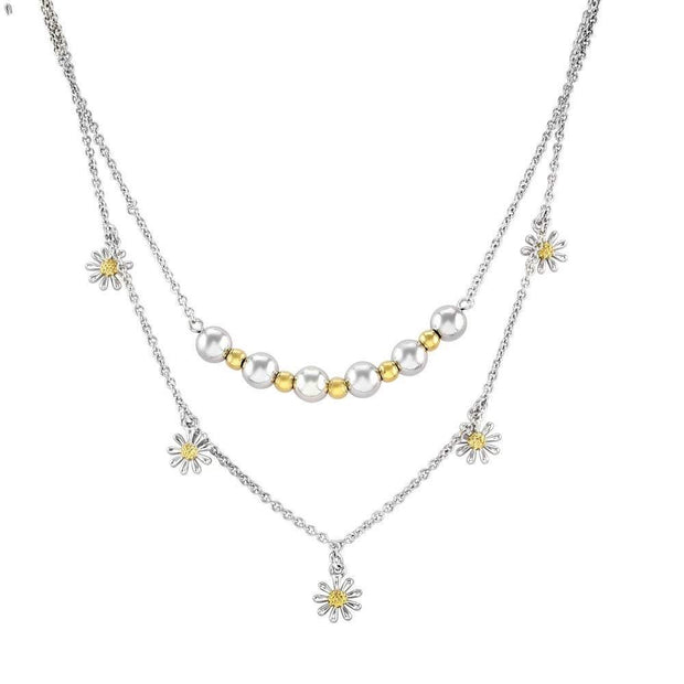 Layered Necklaces, 925 Silver & Gold Beads with Daisies, Lovely Quality (Complete set with three layers) Ref AE-SN005 - Paul Wright Jewellery