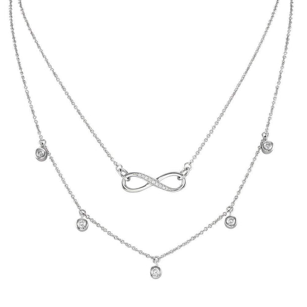 Layered Necklaces, Silver Infinity Symbol with CZ Diamonds, Lovely Quality (Complete set with three layers) - Paul Wright Jewellery