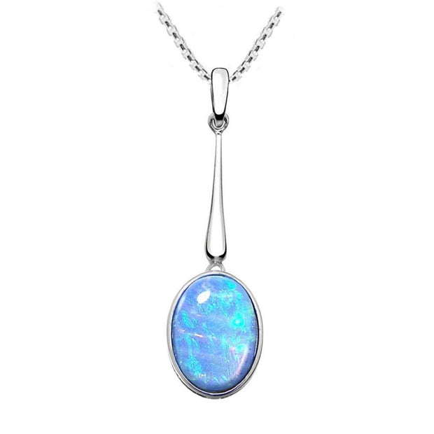 Long Blue Opal Pendant Necklace, Oval Cabochon Opal, set in 925 Sterling Silver. Ref: AEP5002 - Paul Wright Jewellery