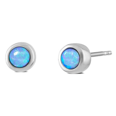 Mini Blue Opal Stud Earrings (Round 925 Silver Stud with a Rub Over Setting) Vibrant Cultured Opals Ref AE-E5017 - Paul Wright Jewellery