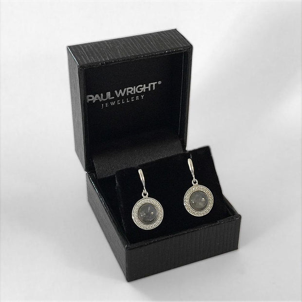 Moonstone Earrings, Silver with CZ Diamonds, (Round Drops) - Model: AEE5012 - Paul Wright Jewellery