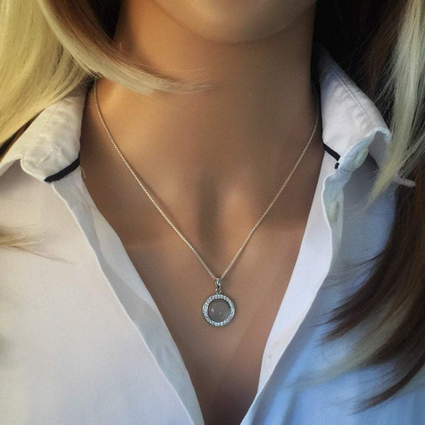 Moonstone Pendant Necklace, Round Cabochon Moonstone, set in 925 Sterling Silver AEP5012 - Paul Wright Jewellery