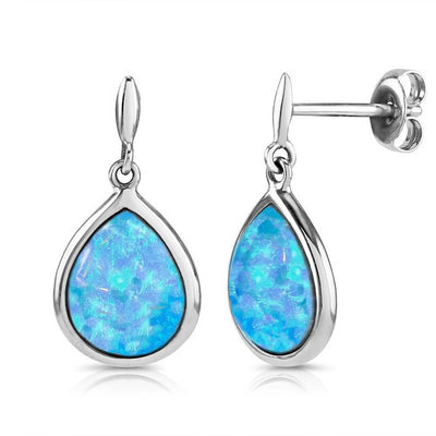 Blue Opal Teardrop Earrings - Paul Wright Jewellery