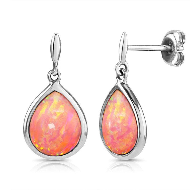 Opal Earrings, 925 Silver with Vibrant Cultured Pink Opals, Teardrop Shape 10mm x 8mm. Ref. AE-E034-24 - Paul Wright Jewellery