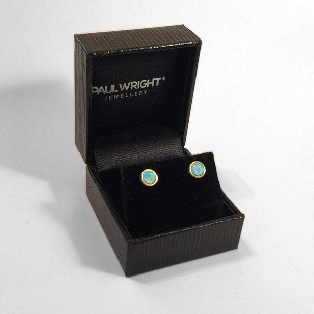 Opal Earrings, 9ct Gold Studs with Vibrant Cultured Opals, 5mm Round Cabochon. Ref AE-GE002 - Paul Wright Jewellery