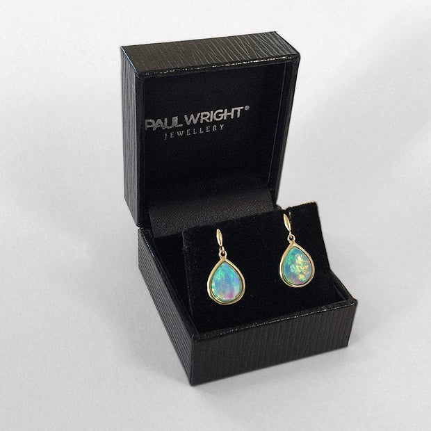 Opal Earrings, 9ct Gold with Vibrant Cultured Opals, Teardrop Shape 10x8mm - Ref: AE-GE003 - Paul Wright Jewellery
