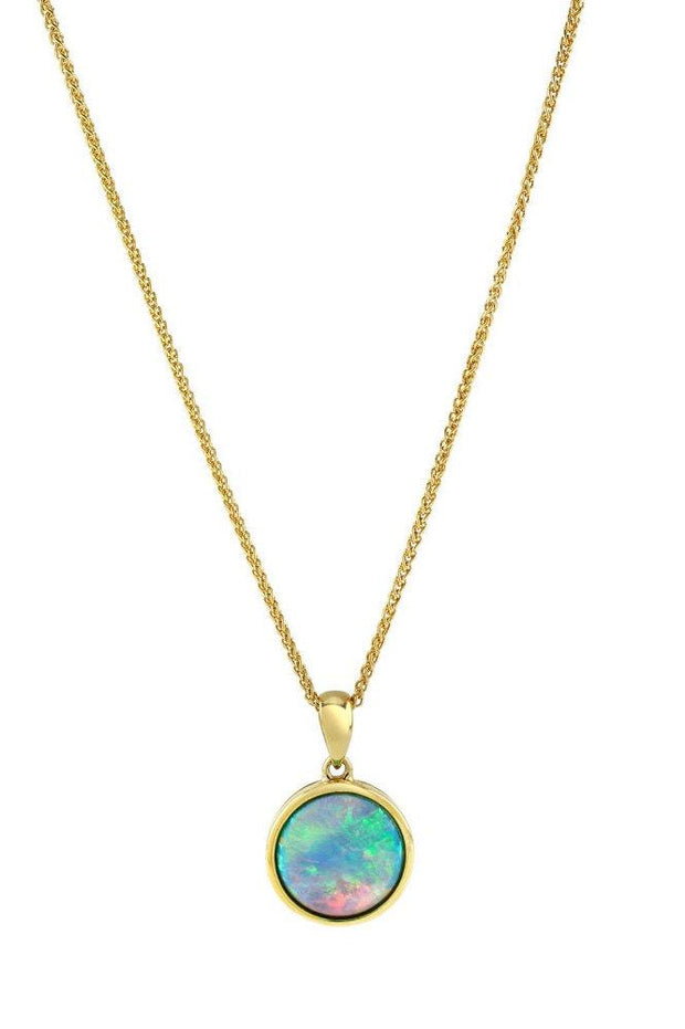Opal Pendant, 9ct Gold Necklace with Vibrant Cultured Opal, 10mm Round Cabochon - Ref: AE-GP001 - Paul Wright Jewellery