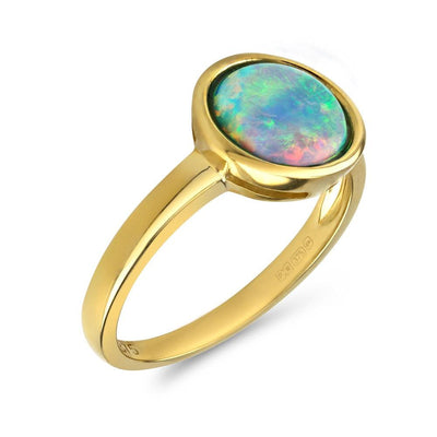 Opal Ring in 9ct Gold, Vibrant Cultured Opal, Round Cabochon Measuring 8mm - Paul Wright Jewellery