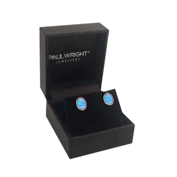 Oval Blue Opal Earrings set in 925 Sterling Silver. Ref: AEE019OP - Paul Wright Jewellery