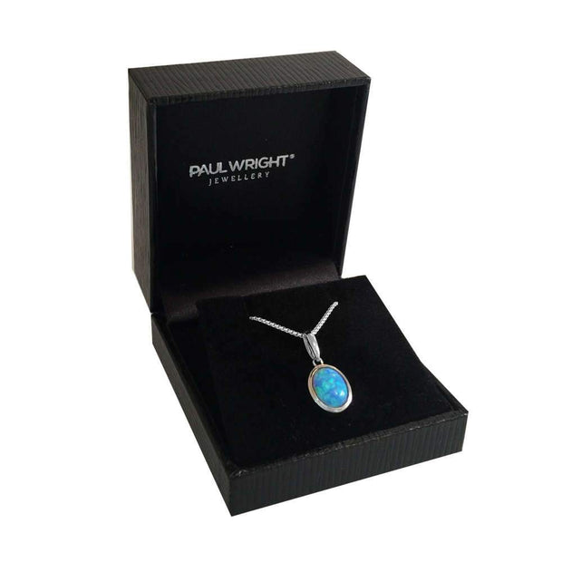 Oval Blue Opal Pendant - Paul Wright Jewellery