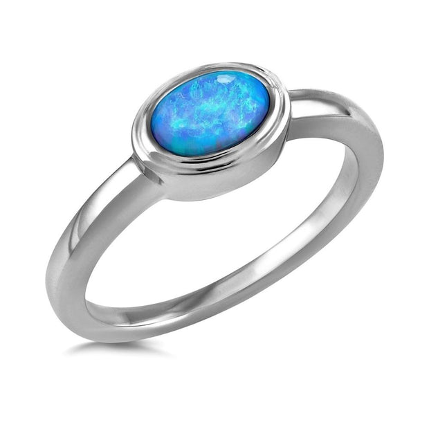 Oval Blue Opal Ring - Paul Wright Jewellery