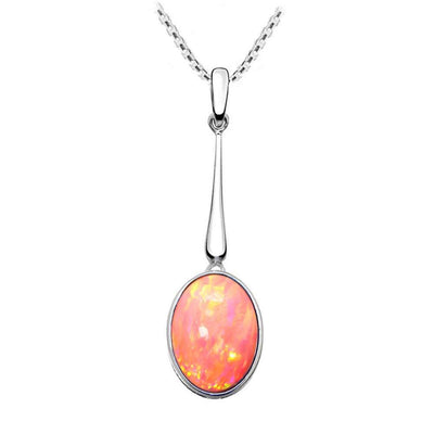 Oval Coral Pink Opal Pendant - Paul Wright Jewellery