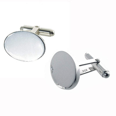 Oval silver cufflinks with 3mm thick plates ideal for engraving - Paul Wright Jewellery