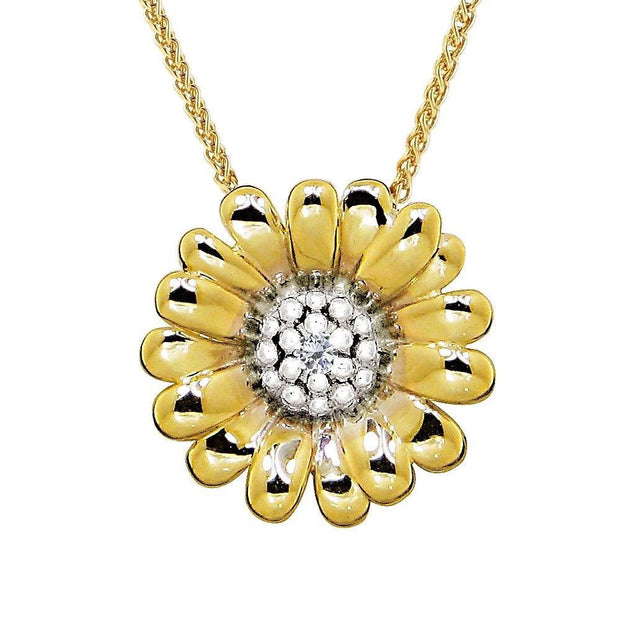 Perfectly Sculptured 9ct Gold Daisy Necklace, Floral Pendant Design - Ref: AEGP3001 - Paul Wright Jewellery