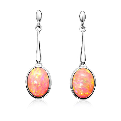 Pink Opal Drop Earrings, Sterling Silver with Vibrant Coral Pink Oval Shape Opals. AE-E5002-24 - Paul Wright Jewellery