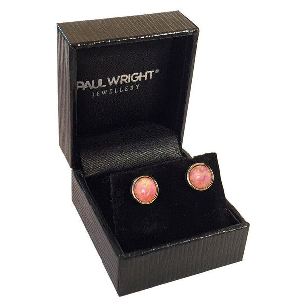 Pink Opal Earrings, 10K Gold Stud Earrings with Vibrant Cultured Opals, 7mm Round Cabochons - Ref: AE-GE001-24 - Paul Wright Jewellery