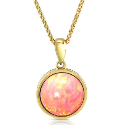 Pink Opal Pendant, 10K Gold Necklace with Vibrant Cultured Opal, 10mm Round Cabochon, Incl. Gold Chain - Ref: AE-GP001-24 - Paul Wright Jewellery