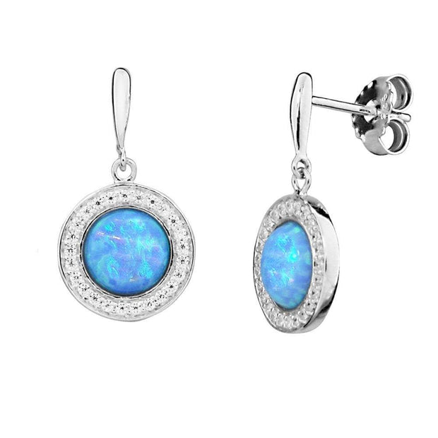 Round Blue Opal Earrings, Created Opals with CZ Surrounds, set in 925 Sterling Silver. Ref: AEE5016 - Paul Wright Jewellery