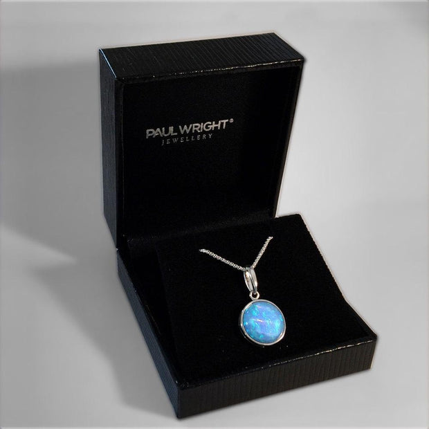 Round Blue Opal Pendant - Paul Wright Jewellery