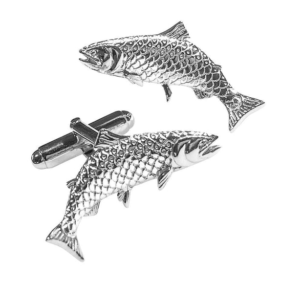 Salmon Fish Cufflinks in 925 Silver - Paul Wright Jewellery