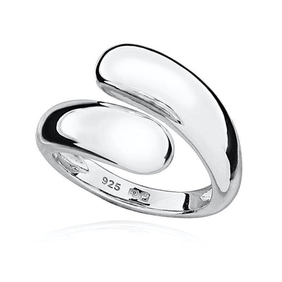 Silver Crossover Ring, Adjustable Size - Paul Wright Jewellery