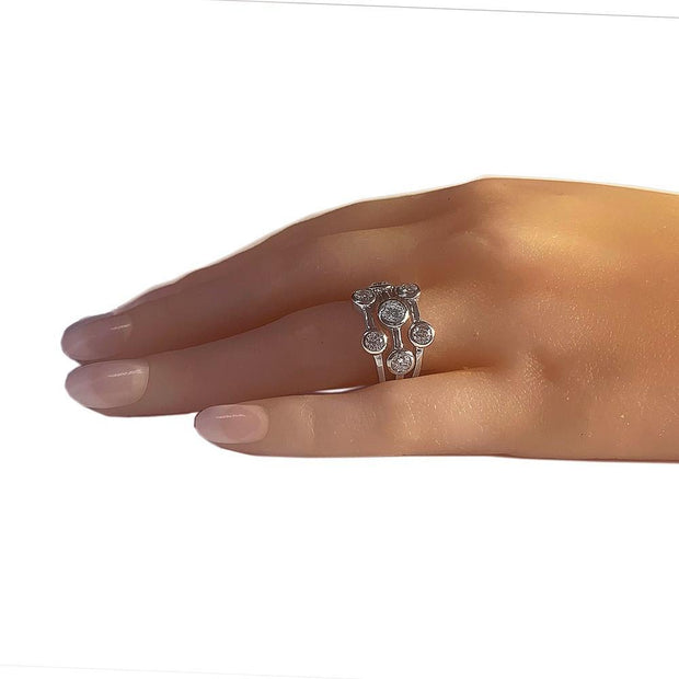 Silver CZ Diamond Bubble Ring - Paul Wright Jewellery