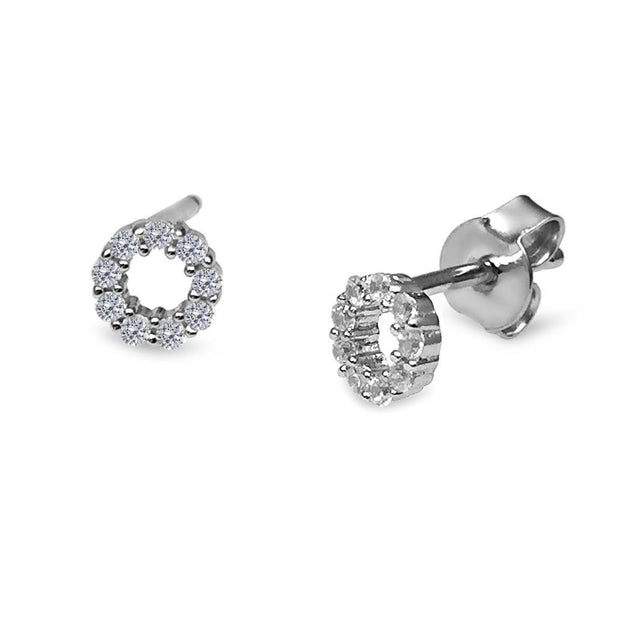 Silver CZ Diamond Circular Halo Earrings 6mm - Paul Wright Jewellery