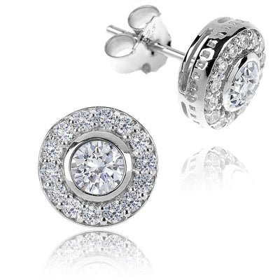 Silver CZ Diamond Cluster Earrings, 10mm - Paul Wright Jewellery