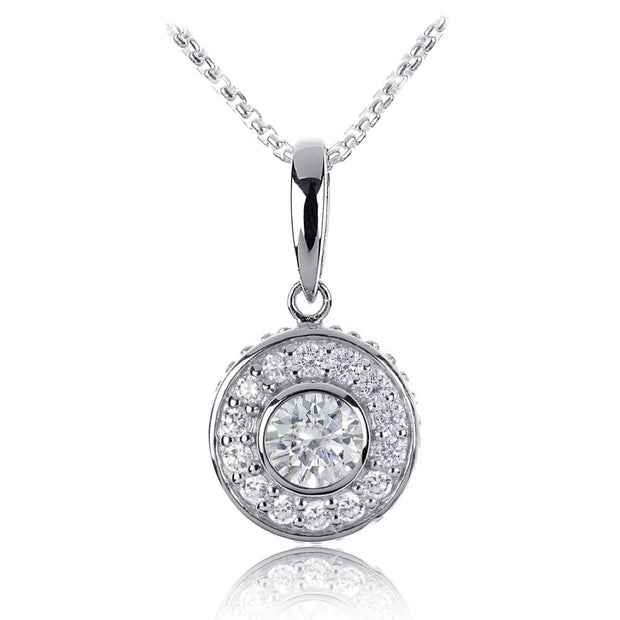 Silver CZ Diamond Cluster Pendant, 12mm - Paul Wright Jewellery