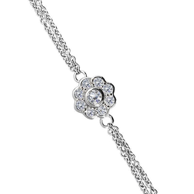 Silver CZ Diamond Daisy Bracelet - Paul Wright Jewellery