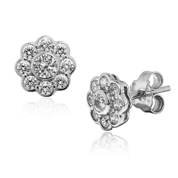 Silver CZ Diamond Daisy Earrings, 9mm - Paul Wright Jewellery