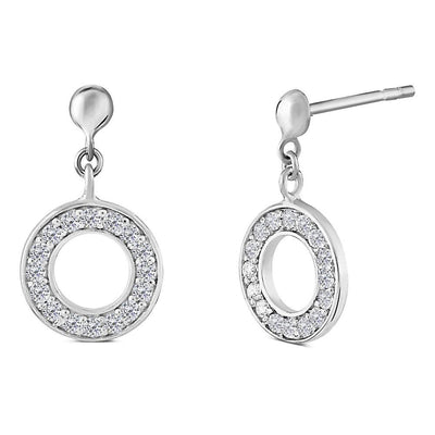 Silver CZ Diamond Halo Earrings 10mm - Paul Wright Jewellery