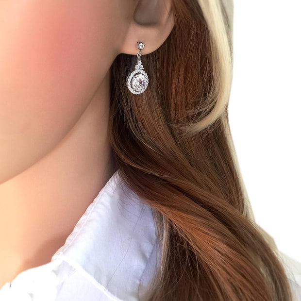 Silver CZ Diamond Halo Earrings - Paul Wright Jewellery