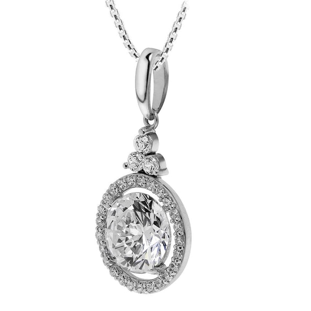 Silver CZ Diamond Halo Pendant - Paul Wright Jewellery