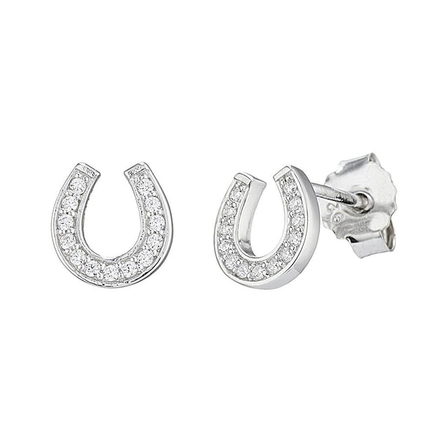 Silver CZ Diamond Horseshoe Earrings - Paul Wright Jewellery