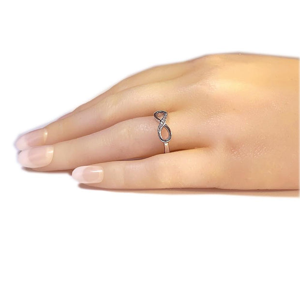 Silver CZ Diamond Infinity Ring - Paul Wright Jewellery