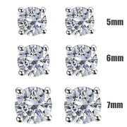 Silver CZ Diamond Stud Earrings, 4 Claws - Paul Wright Jewellery