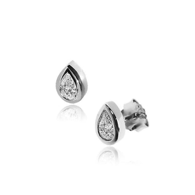 Silver CZ Diamond Teardrop Stud Earrings, 7mm x 5mm - Paul Wright Jewellery