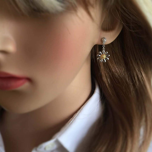 Silver Daisy Drop Earrings - Paul Wright Jewellery