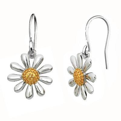 Silver Daisy Earrings on Hooks - Paul Wright Jewellery