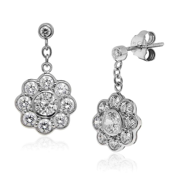 Silver Diamond Daisy Drop Earrings with CZ Diamond Cluster. Ref: AEE023 - Paul Wright Jewellery