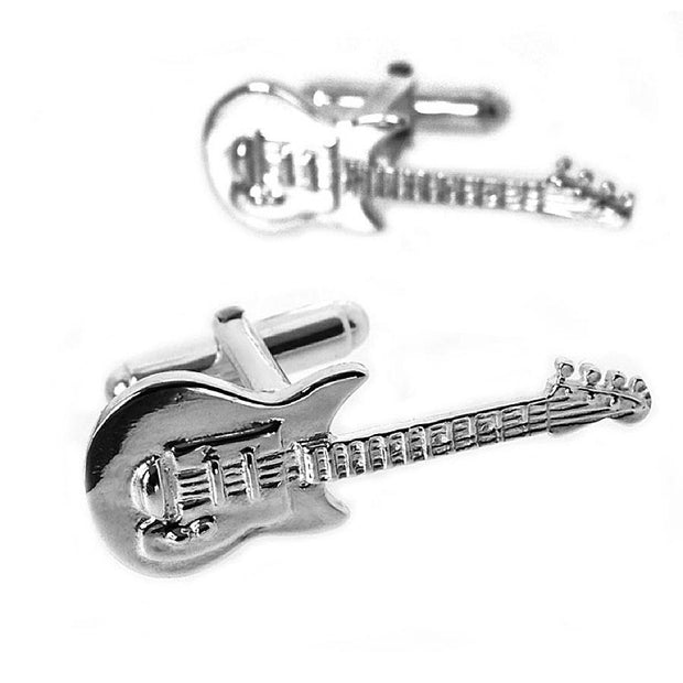 Silver Electric Guitar Cufflinks - Paul Wright Jewellery