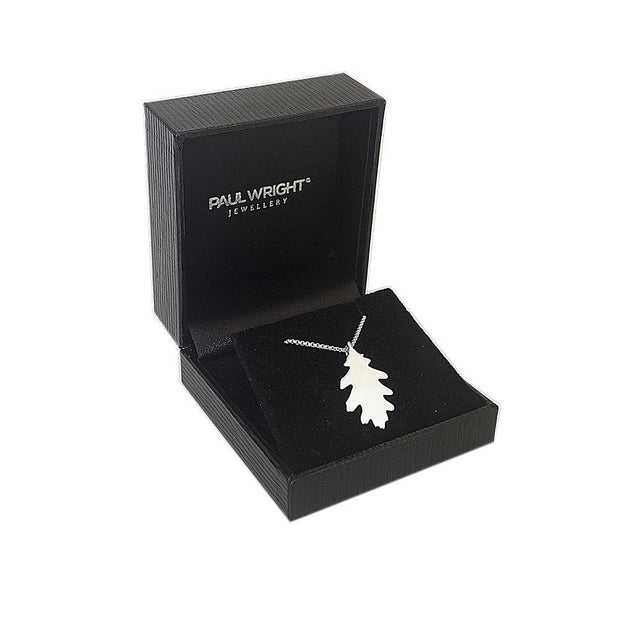 Silver English Oak Leaf Pendant Necklace - Ref: AEP033 - Paul Wright Jewellery