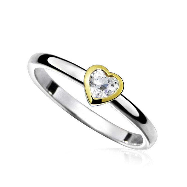 Silver & Gold Heart Shaped Stacking Ring set with CZ Diamond - Ref:AE-R5003 - Paul Wright Jewellery